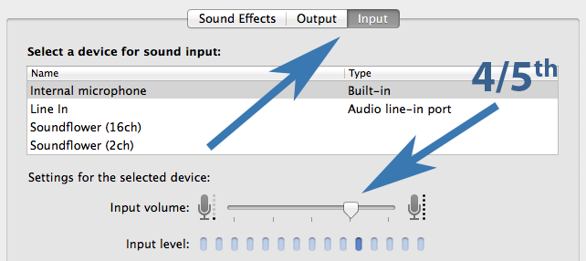 Sound Input Settings on Mac