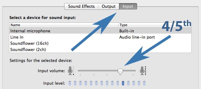 Sound Input Settings on Mac