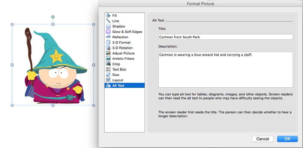 Image of adding alt text using the image format tool in microsoft word