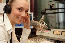 Female Narrator with Microphone